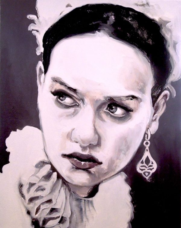 Artist Larissa Eremeeva's portrait in oil on canvas of a girl with earring from the installation The Factory