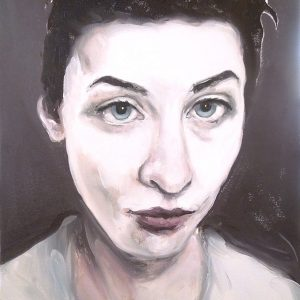 Artist Larissa Eremeeva's portrait in oil on canvas of a woman from the installation The Factory