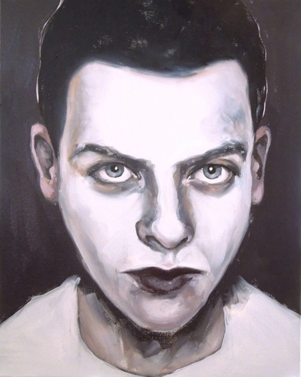 Artist Larissa Eremeeva's portrait in oil on canvas of a man from the installation The Factory