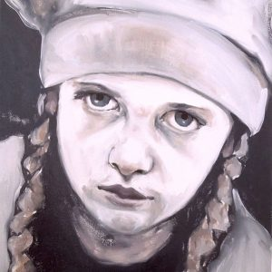 Artist Larissa Eremeeva's portrait in oil on canvas of a girl with pigtails and cap from the installation The Factory