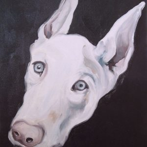 Artist Larissa Eremeeva's portrait in oil on canvas of a dog's head from the installation The Factory