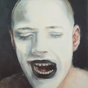 Artist Larissa Eremeeva's portrait in oil of canvas of a man with white painted face from the installation The Factory