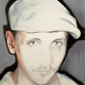 Artist Larissa Eremeeva's portrait in oil on canvas of man in a cap from the installation The Factory