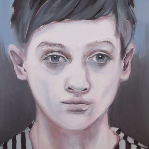 Artist Larissa Eremeeva's portrait in oil on canvas of a young man from the installation The Factory