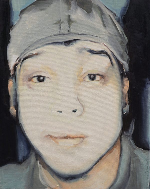 Artist Larissa Eremeeva's portrait of man with cap from the installation The Factory