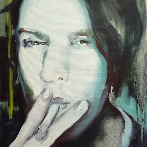 Artist Larissa Eremeeva's portrait in oil on canvas of a woman smoking from the installation The Factory