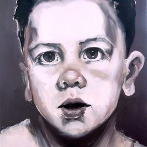 Artist Larissa Eremeeva's portrait in oil on canvas of a young boy from the installation The Factory