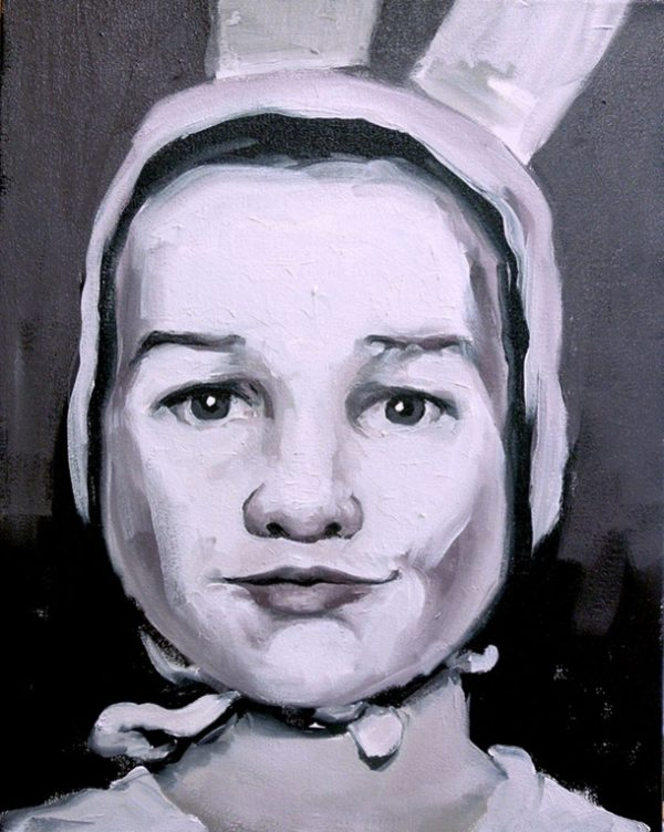Artist Larissa Eremeeva's portrait in oil on canvas of child in rabbit hat from the installation The Factory