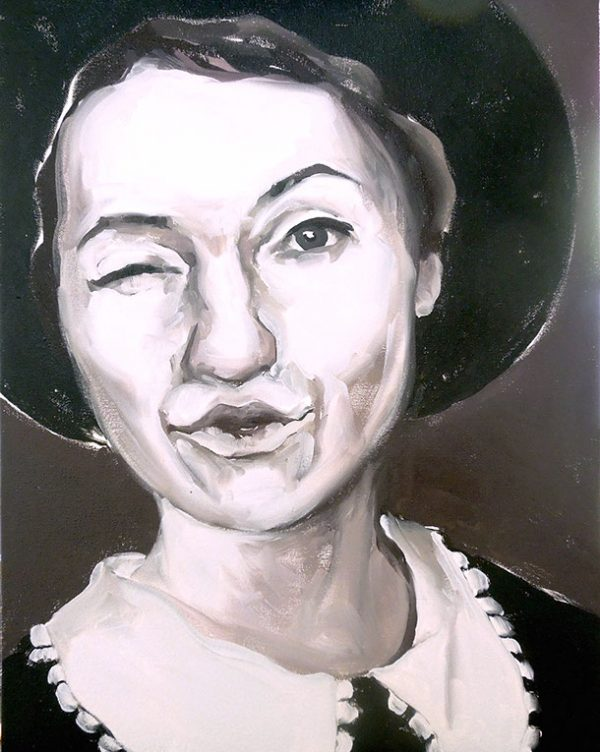 Artist Larissa Eremeeva's portrait in oil on canvas of a woman winking from the installation The Factory