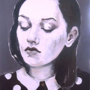 Artist Larissa Eremeeva's portrait in oil on canvas of a woman with eyes closed from the installation The Factory