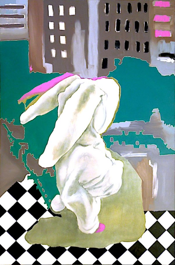 Artist Larissa Eremeeva's oil painting of an introspective young person in rabbit costume explores our anxieties and emotions
