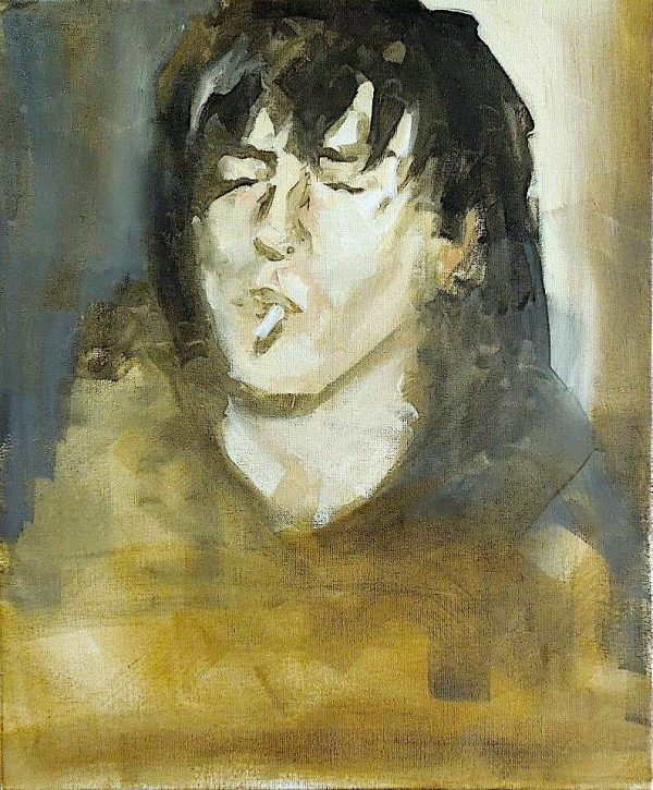Painting head and shoulders of cigarette smoking Lothario