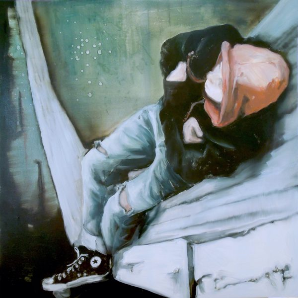 Painting of a lounging youth, with red hoody and All Stars