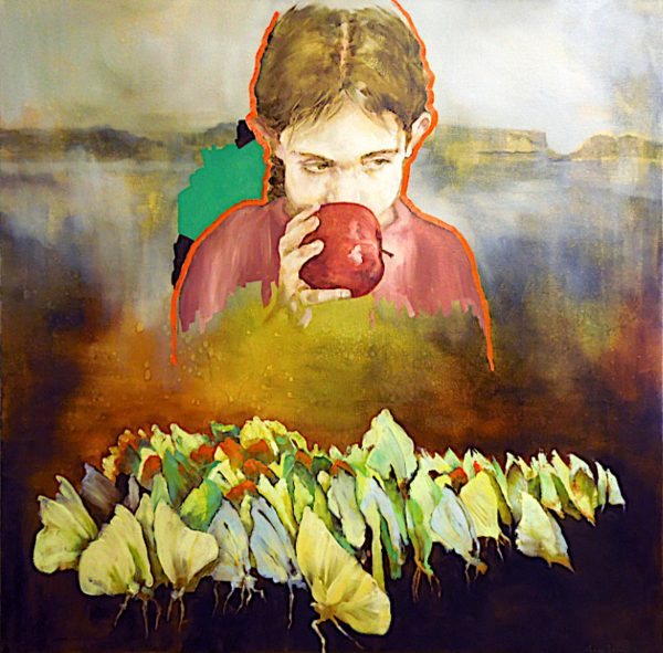 Painting of pensive looking girl holding red apple in a misty landscape with carpet of butterflies
