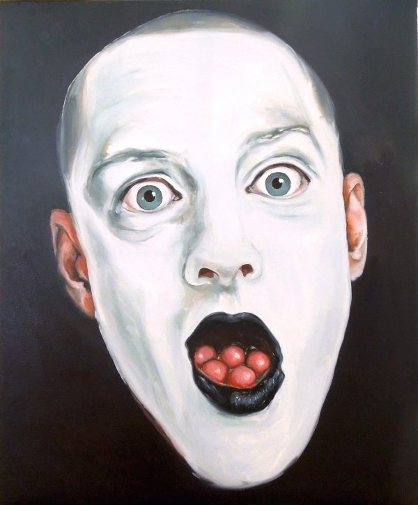 Portrait of a man with white painted face, eyes open, black lips and marbles in mouth