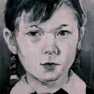 Portrait head of a girl with plaits and a white dress collar