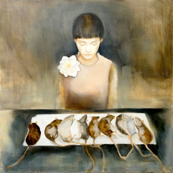 Painting of girl with flower and rat cadavers from the collection Keepers by Larissa Eremeeva