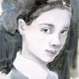 Painting 3/4 head and shoulders of a young woman with hair band