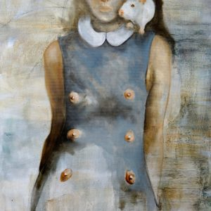 Painting of a woman with white rat and surreal attire from the collection Keepers by Larissa Eremeeva