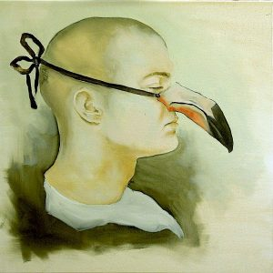 Oil painting of a profile of a man wearing toucan's beak mask over his nose