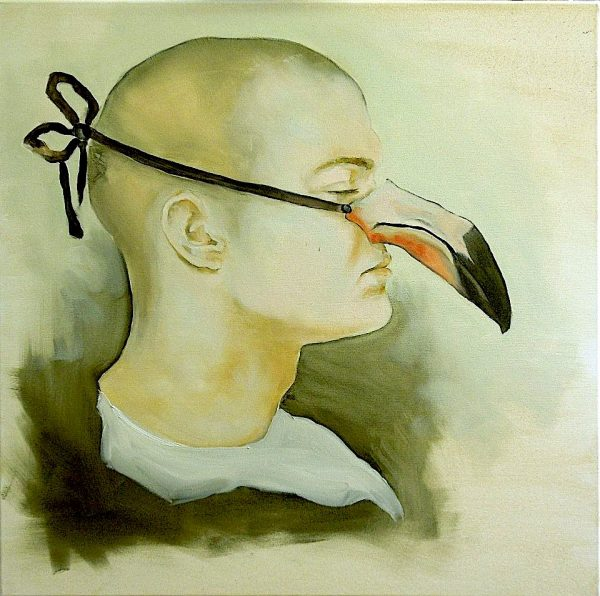 Painting of a man with bird beak mask from the collection Keepers by Larissa Eremeeva
