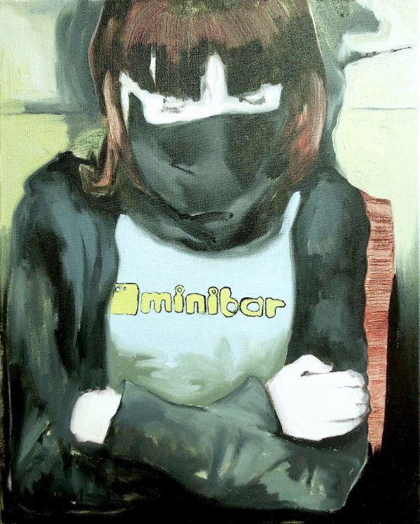 Painting head and torso of a masked girl with arms folded