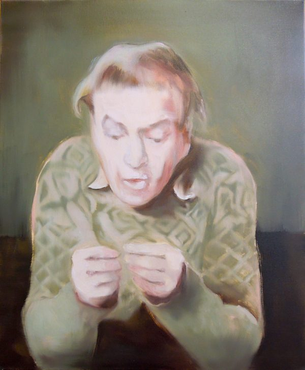 Painting head and torso of a man with elbows on table, fidgetting