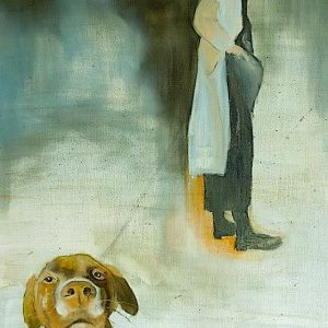 Painting of a dog in charge of its owner from the collection Keepers by Larissa Eremeeva