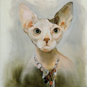 Anthropomorphic painting of a naked cat from the collection Keepers by Larissa Eremeeva