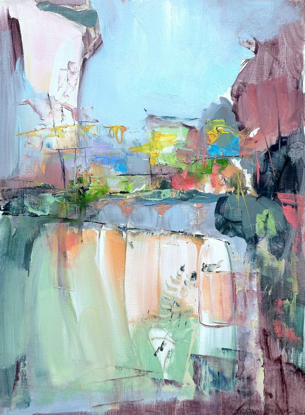 Modern abstract oil painting of a cityscape in predominantly pastel shades
