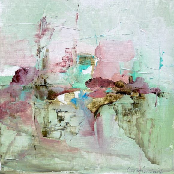 Abstract expressionist oil painting of a foggy cityscape in pastels shades of green, pink, mauve