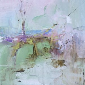 Abstract expressionist oil painting of a foggy landscape in pastels shades of green, pink, mauve