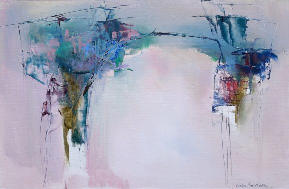 Abstract conceptual oil painting of an Italian landscape in ethereal pink pastel shades with subdued highlights in blue and red and
