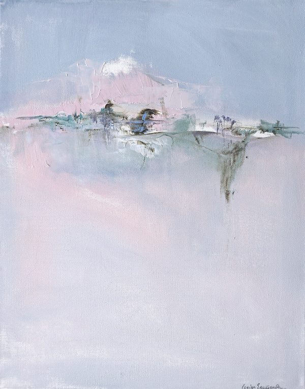 Modern abstract painting in pastel shades of a mountain in an Italian landscape