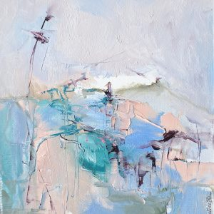 Abstract expressionist landscape featuring the mountains of Abruzzo in blue and pink pastel shades