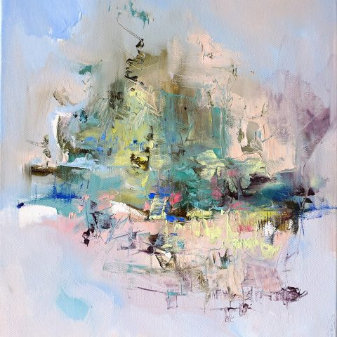 Modern abstract painting of an evening landscape with lighted village in pastel shades
