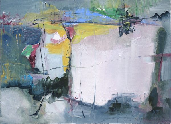 Abstract expressionist painting of an agricultural valley landscape with blue, yellow and magenta highlights
