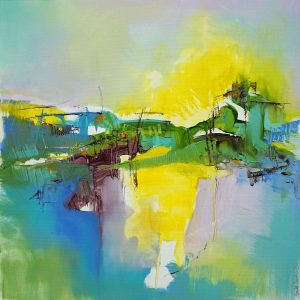 Modern abstract Italian mountain landscape in vibrant colours with yellows and greens centre on a variegated ground