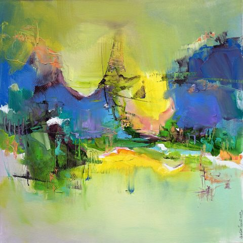 Modern abstract Italian mountain landscape in vibrant colours with yellows and intense blues centre on a variegated ground