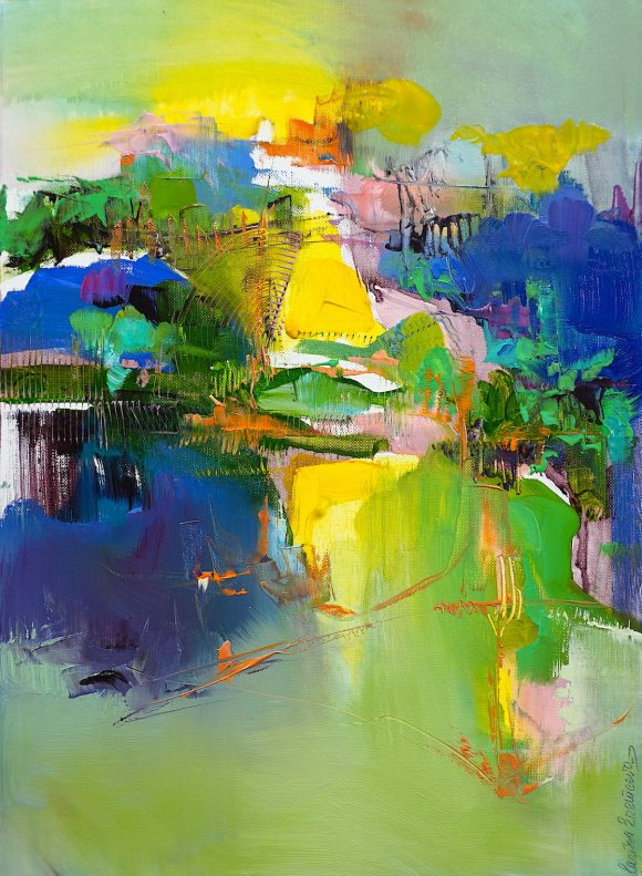 Abstract oil painting in vibrant blues, yellows, greens and other colours of a hilly Abruzzo landscape in bright sun