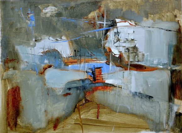Abstract expressionist painting of a lighted city located in a earthy landscape