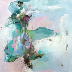 Modern abstract painting in pink and pastel shades of a landscape and sky inspired by Abruzzo