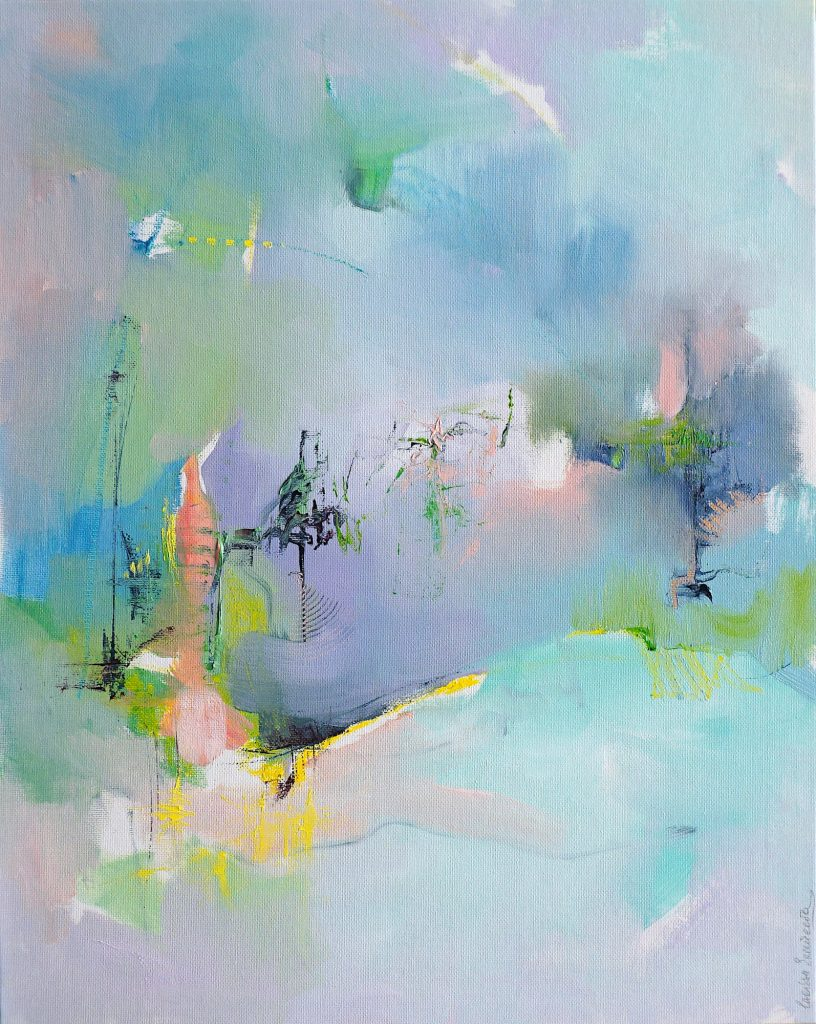 Oil on canvas board abstract painting by Larissa Eremeeva from the series Diary of Wishful Tendencies