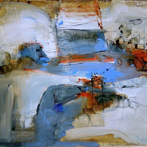 Abstract expressionist oil painting of a cityscape featuring blue and ochre shades