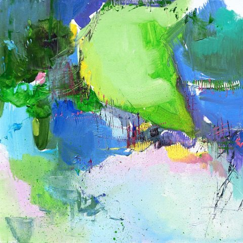 Abstract expressionist oil painting inspired by the landscape of Abruzzo contrasting pastel shades with vivid greens and blues
