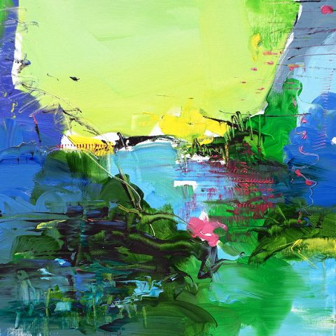 Abstract expressionist oil painting inspired by Abruzzo with vivid green and blue fields intercepted by singular marks
