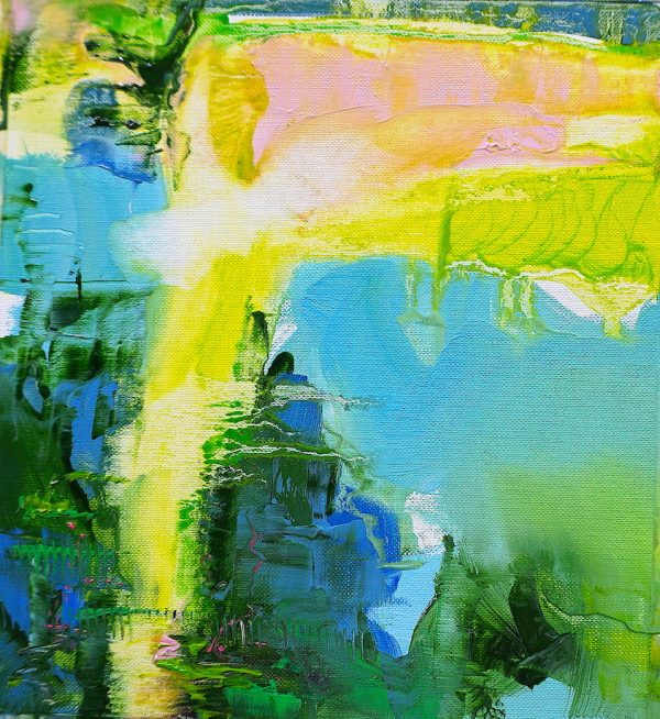 Abstract expressionist oil painting inspired by Abruzzo with vivid yellow, green and blue fields and thick layers of oil