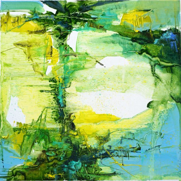Abstract expressionist landscape oil painting of olive grove in a striking combination of greens, blues and yellows.