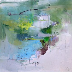 Modern abstract painting of a misty scene in pastel shades with lime yellow