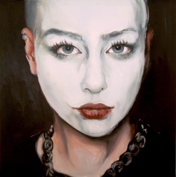 Portrait of a woman with face painted white by Larissa Eremeeva from the collection Casual Thinking of the Metrical Mind